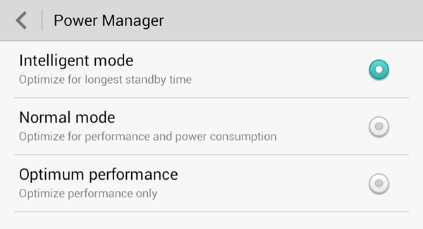 Three power saving modes are available on the Huawei Ascend Mate.