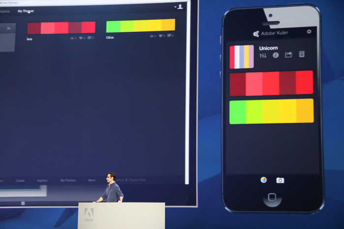 With the upcoming Kuler app, users can upload color swatches based on photographs taken with the phone, and sync them to their desktop apps.