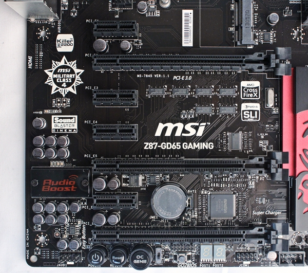 The layout of the PEG slots are almost identical to the MSI Z77-GD65 Gaming board. It also touts support for 3-way AMD CrossFireX and 2-way NVIDIA SLI setups to keep gamers and power users satisfied.