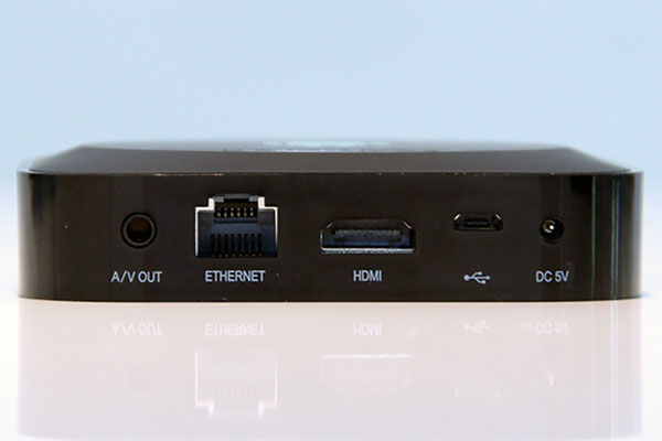 The box has A/V out, Ethernet, HDMI (supports 1080p output), and micro USB terminals on one side.
