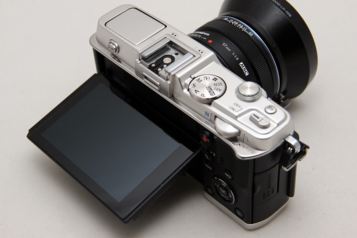 The 3-inch tilting touch-screen is higher resolution than the E-M5 and previews look extra vivid.
