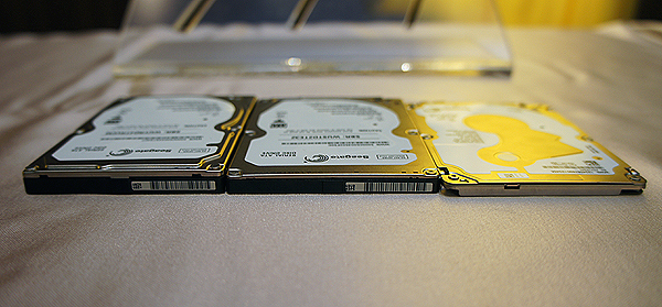 Seagate's hard disk evolution: 9.5mm thick drive on the left, 7mm thick drive in the middle and the new 5mm thick Laptop Ultrathin HDD on the right.