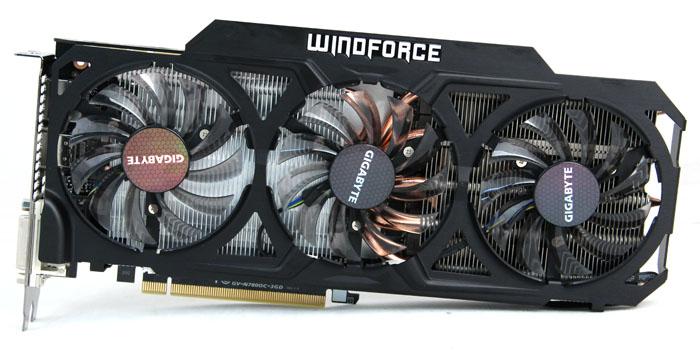 Gigabyte's GTX 780 is cooled by its custom triple-fan Windforce 3X cooler.
