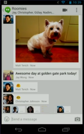 The cross-platform Hangouts app lets you easily chat and share photos with people in your Google+ circles.