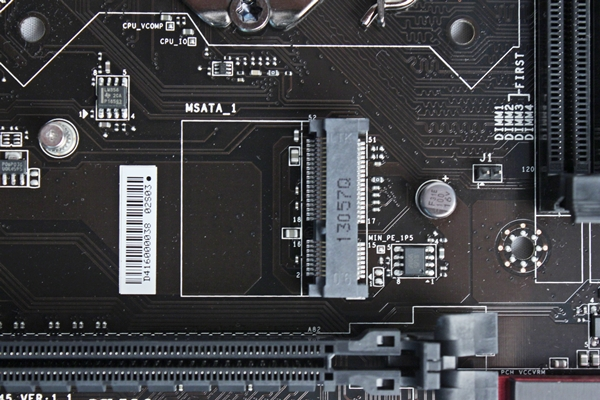 The onboard mSATA slot is located to the left of the LGA1150 CPU socket, near the clip of the first PCIe Gen 3.0 x16 expansion slot.