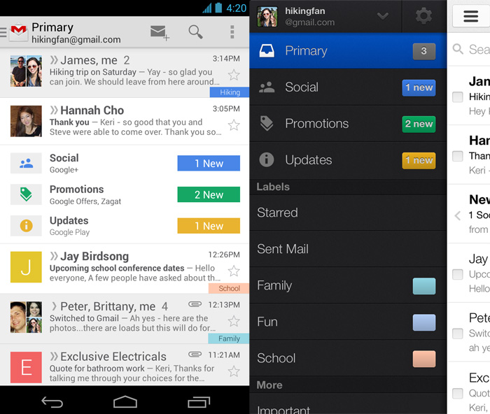 How the new inbox will look like on mobile devices. On the left side is a screen capture of the inbox on and Android device, and on the right side is a screen capture of what the inbox will look like on an iOS device.