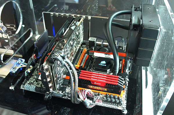 The new flagship overclocking motherboard, the Z87X-OC Force, at work.