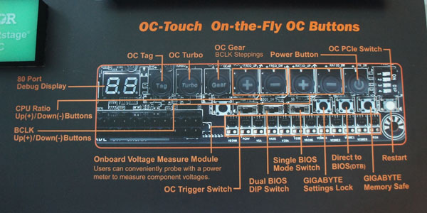 OC Touch lets overclockers quickly and convenient change their system parameters and even switch off individual PCIe lanes with a push of a button or flick of a switch.