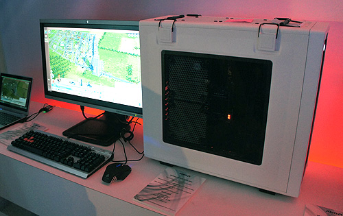 A DIY desktop powered by AMD's latest A10-6800K APU running Sim City.