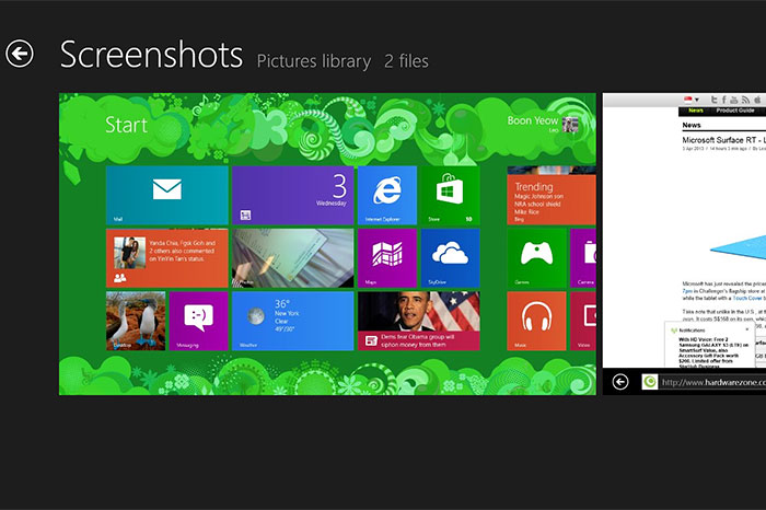 The Surface's screenshot shortcut is similar to what's available on Android and iOS.