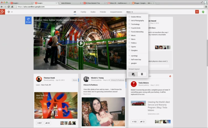 The new Google+ features a customizable, multi-column stream, letting you browse through content faster.