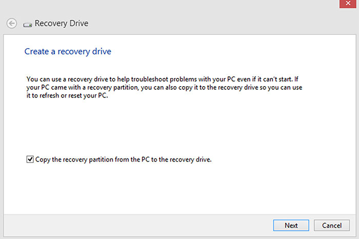 When creating a USB recovery drive, it's good to also copy over the Windows recovery image.