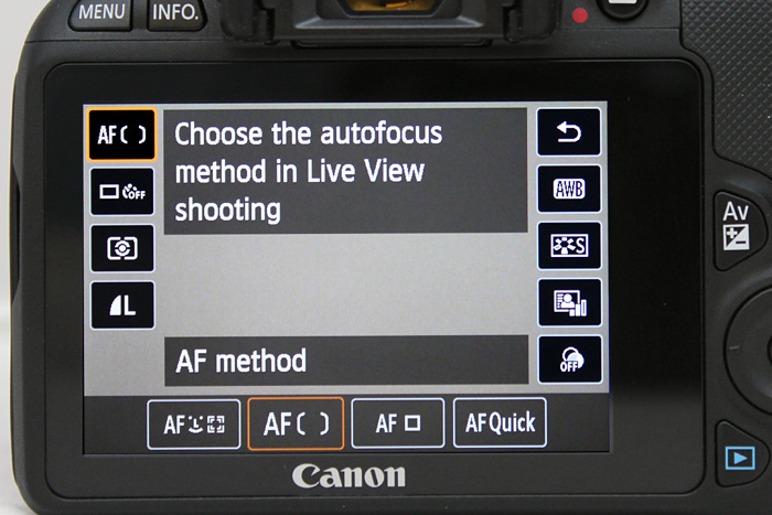 Especially when seen in comparison to the new entry-level Canon 100D, which has a richer menu in Live View.