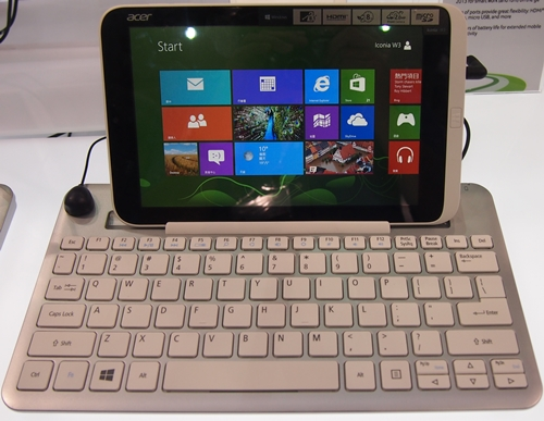 The Acer Iconia W3 can dock into an optional Bluetooth keyboard that is about the same size as the one found on 13.3-inch notebooks.