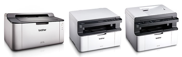 From left to right (not to scale): HL-1110, DCP-1510, MFC-1810.
