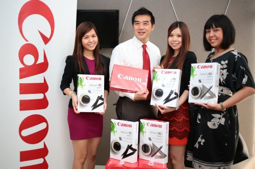 From L-R: Amanda Khor, Media Executive; Eric Er, Senior Marketing Manager; Adelynn Lim, Marketing Executive, and Farah Liyana Amran, Marcom Executive, all from the Business Imaging Solution Division, Canon Marketing (Malaysia), holding the new paper