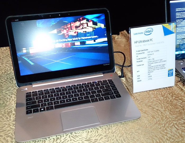 A HP Envy Touchsmart with an Ultrabook processor, and also a mid-range NVIDIA GeForce GT 740M GPU. Thin and light mainstream notebooks is something consumers can expect to see more often before the end of the year.
