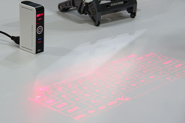 The Epic laser keyboard works on most opaque, flat surfaces. We did a quick hands-on, and found tracking to be surprisingly smooth.