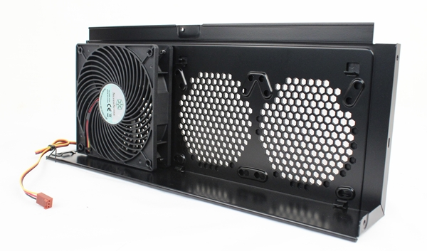 The GPU fan bracket has a bundled 120mm intake fan, with the option of installing another pair of 80- or 92mm fans.