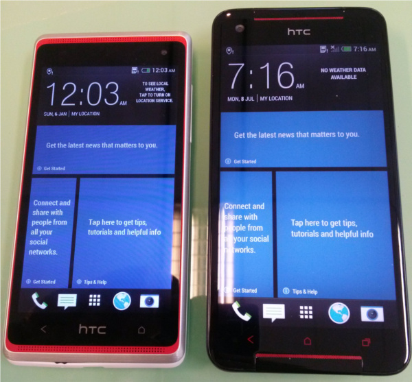 From left: HTC Desire 600 dual sim, HTC Butterfly S.