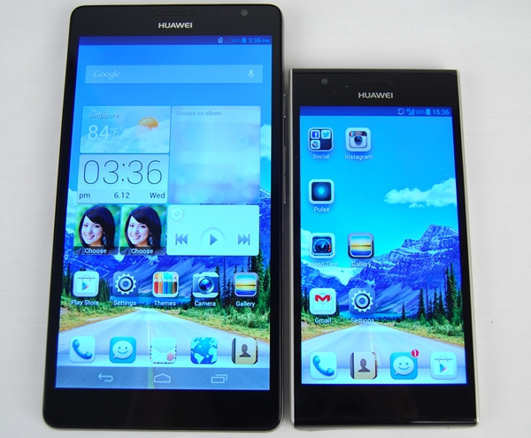 4.7-inch screen size looks so measly when you put it beside the 6.1-inch Huawei Ascend Mate.
