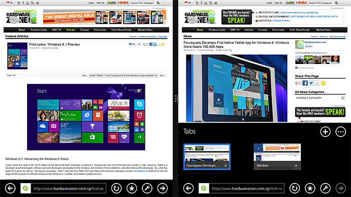 IE11 windows will snap side by side automatically.