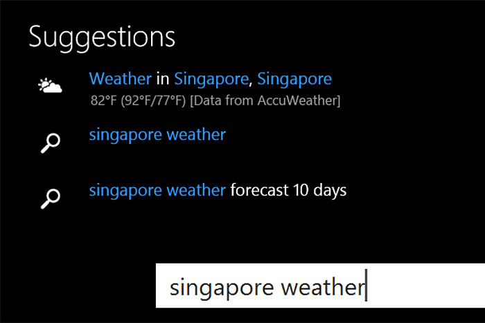 You get weather and stock price results directly.