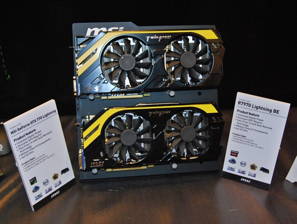 The MSI GeForce GTX 770 Lightning card is the one below the AMD Radeon 7970 card . Both cards feature Military Class III components.