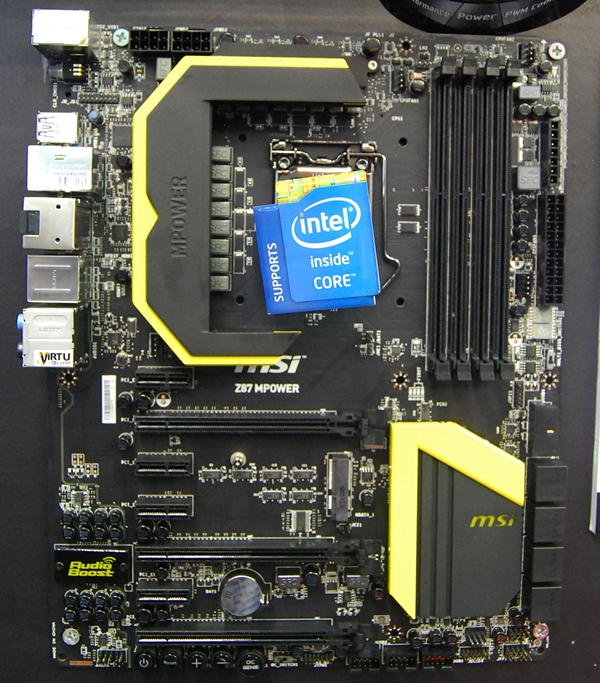 The MSI Z87 MPower motherboard.