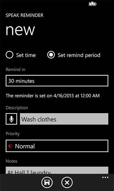 """Speak Reminder"" screenshot."