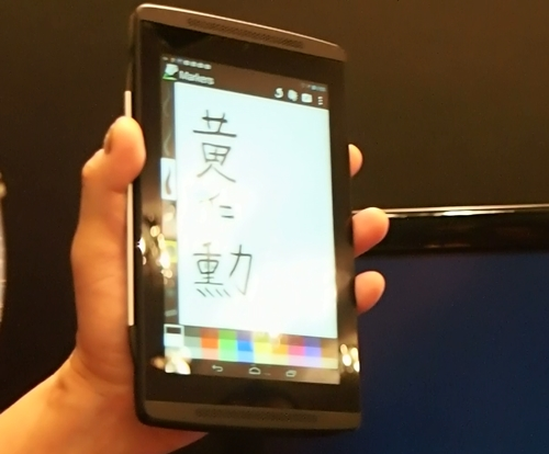 Seen here is a NVIDIA Tegra 4 technology development platform which is used to demonstrate the improved stylus input.