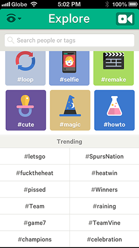 Vine's Explore page is populated with hashtags and trending contents for easy browsing.