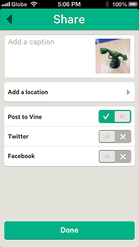 Vine directs you to sharing the video page after the preview.