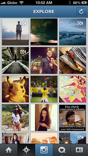 Instagram's Explore page has a mix of videos and photos.