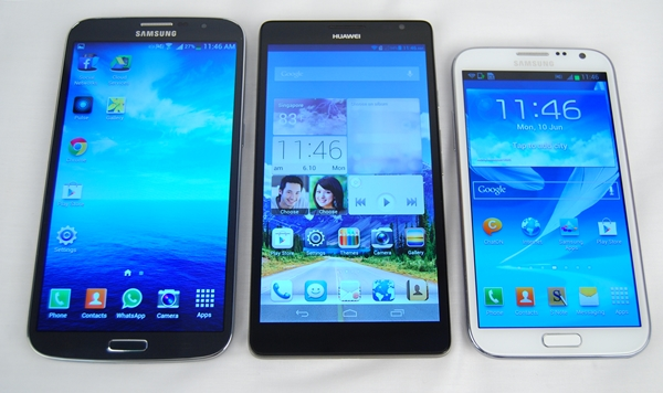 From left to right: Samsung Galaxy Mega with LTE, Huawei Ascend Mate and Samsung Galaxy Note II.
