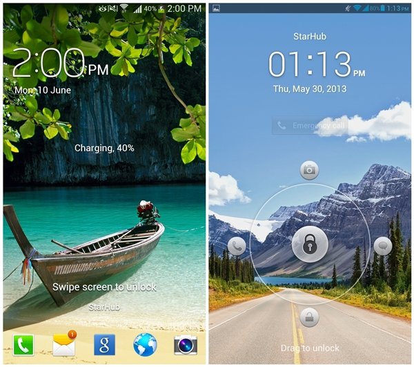 Two different ways of unlocking the screen. Naturally, the Galaxy Mega (left) is the better option as it doesn't restrict you on the direction to swipe to unlock.