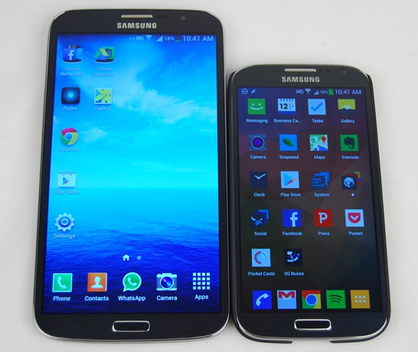 The Samsung Galaxy Mega with LTE (left) and Samsung Galaxy S4 (right) are like siblings; the former is like a bigger brother.