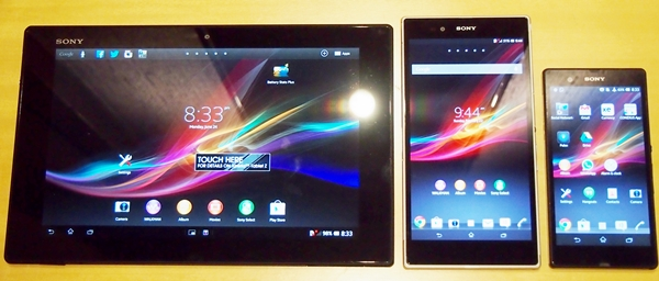 The three flagship Xperia devices share similar design traits. <br> Left to right: Sony Xperia Tablet Z, Sony Xperia Z Ultra and the Sony Xperia Z.
