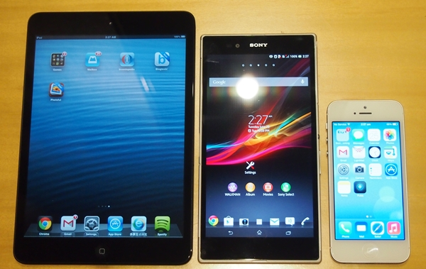 How the Sony Xperia Z Ultra will look beside the 7.9-inch Apple iPad mini (left) and 4-inch Apple iPhone 5 (right).