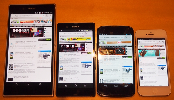 This is how the HardwareZone webpage looks like on the Sony Xperia Z Ultra, Sony Xperia Z, LG Nexus 4 and the Apple iPhone 5.
