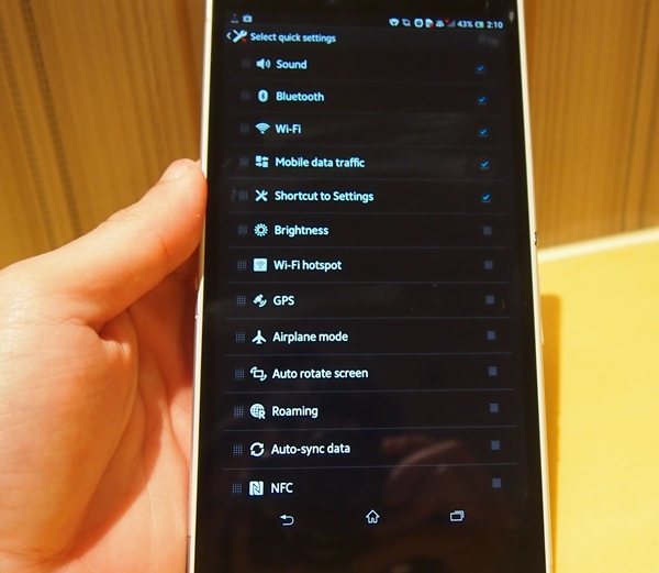 Go to Settings > Personalization > Quick settings to access the 16 different settings or connectivity toggles.