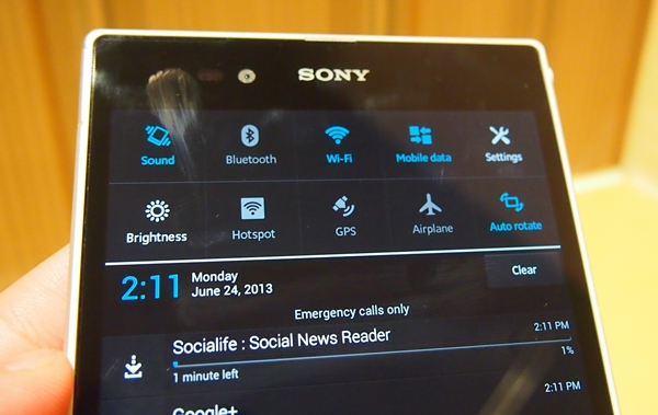 You can now add or modify up to 10 quick settings on the Sony Xperia Z Ultra, compared to the five default settings on the Xperia Z.