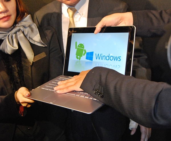 The Transformer Book Trio that was seen operating in its Windows 8 notebook mode.