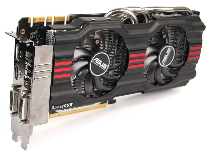 Like most of ASUS' custom cards, this card uses ASUS' dual-fan DirectCU II cooler, comprising of five copper heatpipes in direct contact with the GPU, cooled by two 80mm fans.