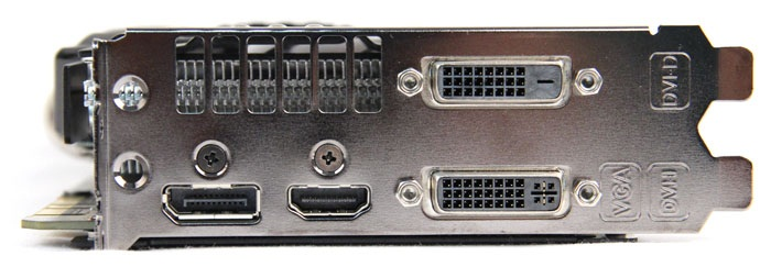 Ports are the same as reference: one DVI-D port, one DVI-I port, one HDMI port and one DisplayPort port.