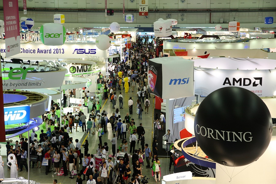 The scene at Computex 2013 in Taipei's Nangang Expo.
