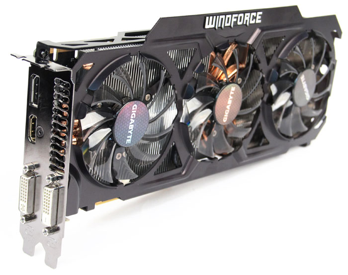 The card sports a custom triple fan cooler comprising of three 80mm fans mounted onto a skeletonized fanshroud, and a full aluminum fin-stack that covers the voltage regulator and memory area, all connected to two 8mm and four 6mm thick heat pipes.
