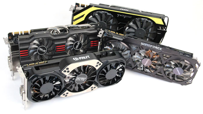 We gathered four custom designed cards from ASUS, Gigabyte, MSI and Palit for your consideration.