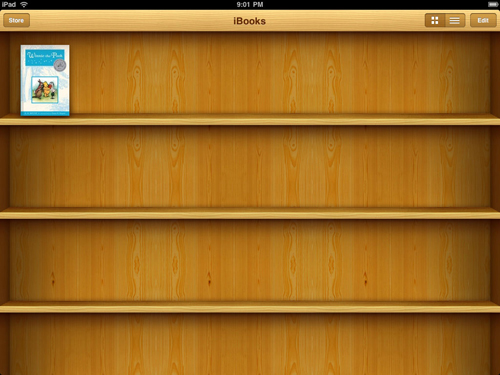 Skeumorphism. When an e-reader app looks like a bookshelf.