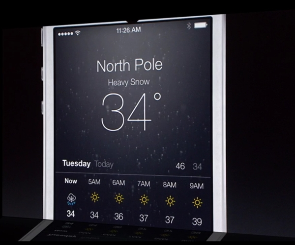 Besides having live weather elements, the Weather app uses new fonts.